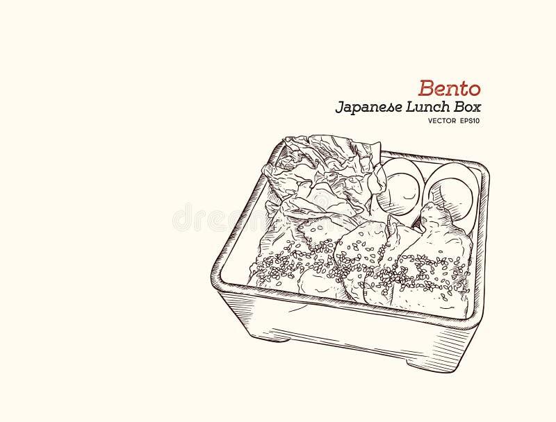 Bento, Japanse lunchdoos de hand trekt schetsvector stock illustratie