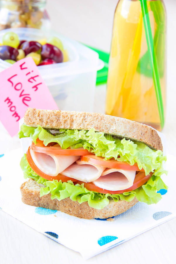 Bento lunch for your child in school, box with a healthy sandwich and fruit salad and apple juice in the bottle stock image