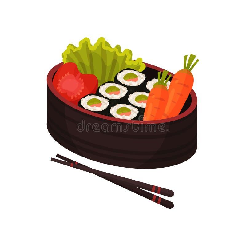 Bento och bentoboxbegrepp Japansk mat i lunchbox vektor illustrationer