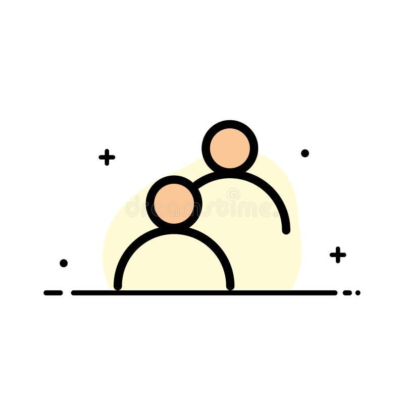 Benutzer, geschaut, Avatara, grundlegendes Geschäfts-flache Linie gefüllte Ikonen-Vektor-Fahnen-Schablone stock abbildung
