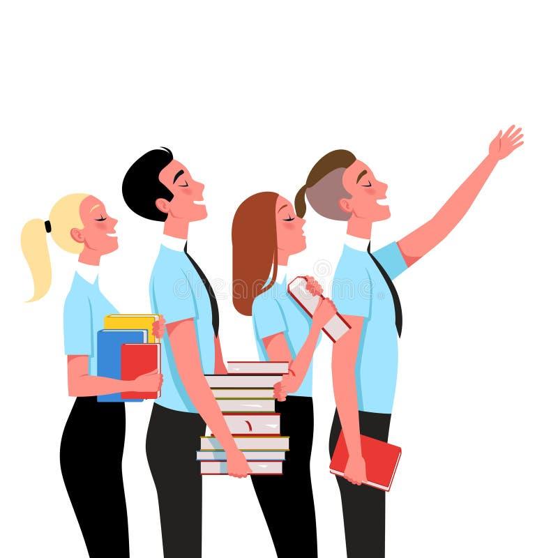 Benutzer mit Büchern auf dem Lernen Das Konzept von erfolgreichen Studenten Auch im corel abgehobenen Betrag vektor abbildung