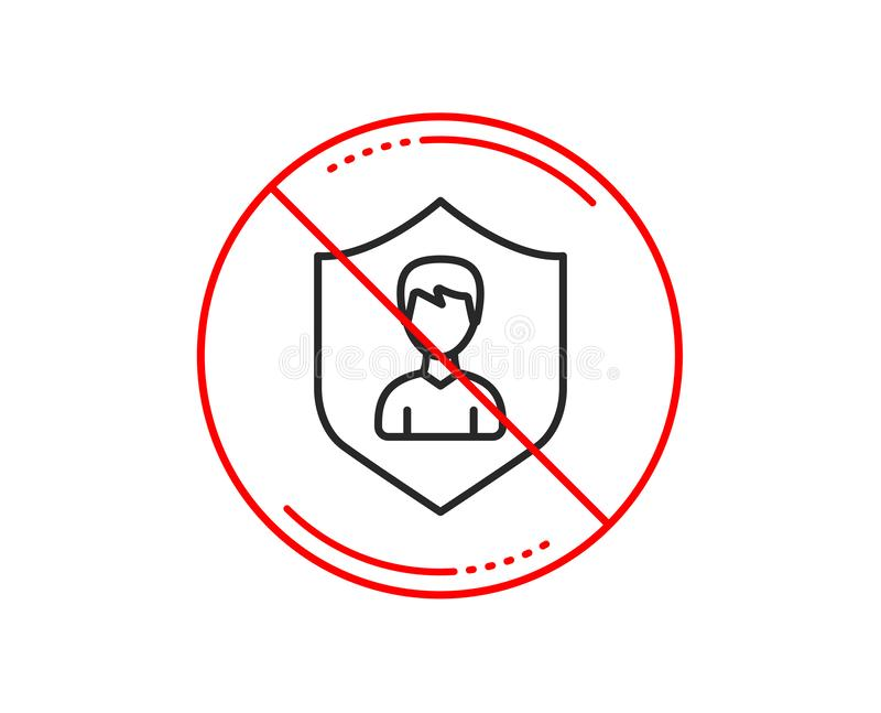 Benutzer-Schutzlinie Ikone Männliches Profilzeichen Vektor lizenzfreie abbildung