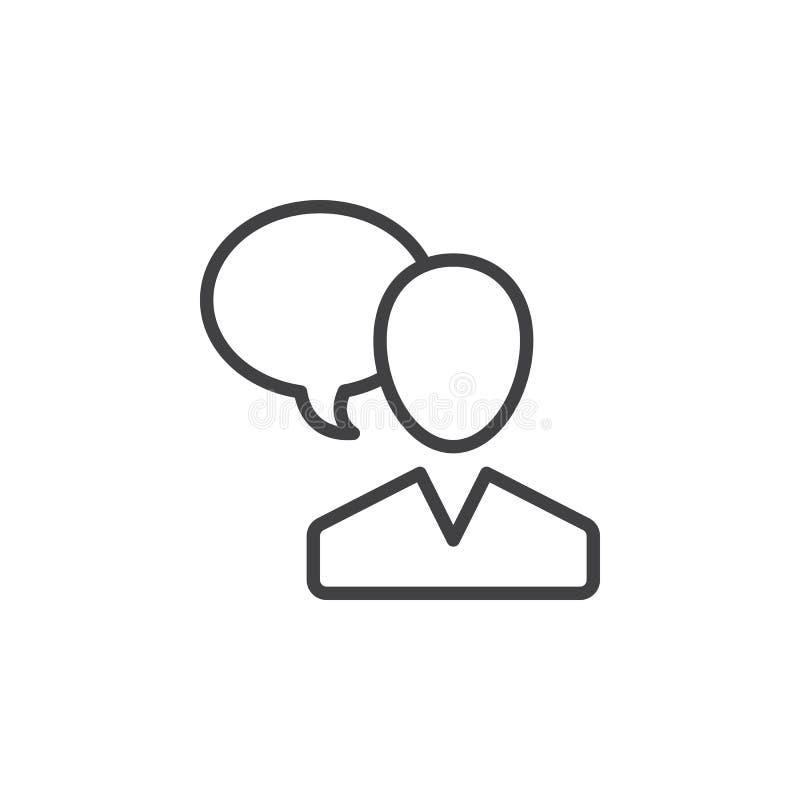 Benutzer und Rede sprudeln, Unterhaltungslinie Ikone, Entwurfsvektorzeichen, das lineare Artpiktogramm der Person, das auf Weiß l stock abbildung