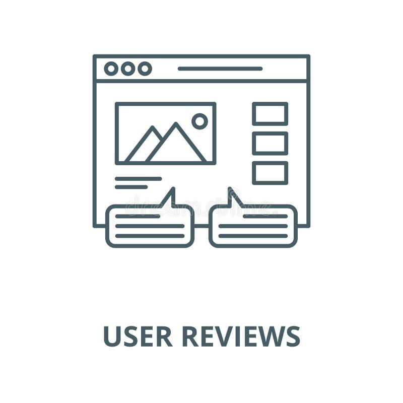 Benutzerbericht-Vektorlinie Ikone, lineares Konzept, Entwurfszeichen, Symbol lizenzfreie abbildung