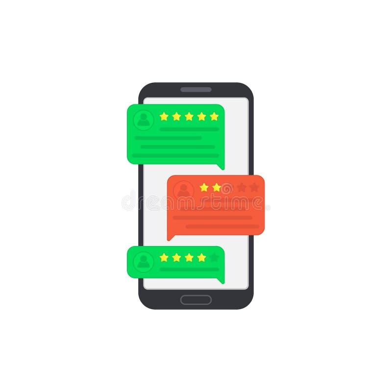 Benutzerberichte auf Smartphone feedback Referenzmitteilungen am Handy Berichtbewertung in den Spracheblasen Gute und schlechte R lizenzfreie abbildung