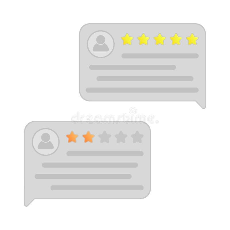 Benutzerberichte feedback Referenzmitteilungen Berichtbewertung in den Spracheblasen Gute und schlechte Rate Flache Art lizenzfreie abbildung