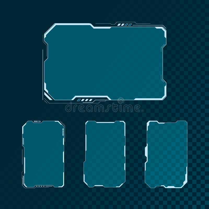 Benutzerschnittstellen-Schirm-Elementsatz HUDs futuristischer Abstraktes Bedienfeldplandesign Virtuelle Technologieanzeige Sci FI vektor abbildung