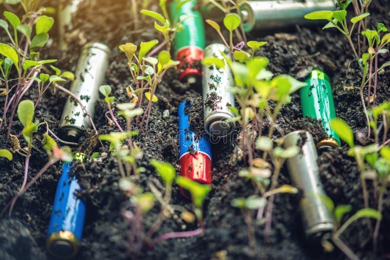 Benutzte alkalische Batterien liegen im Boden, in dem Anlagen wachsen Konzept der Umweltverschmutzung mit giftigem Hausmüll stockbild