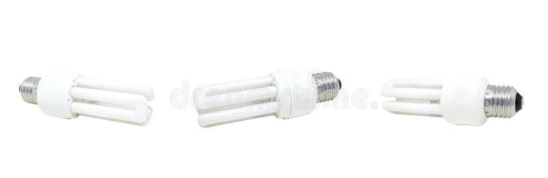 Benutzte kompakte Leuchtstoffbirne lokalisiert auf weißem Hintergrund stockbild