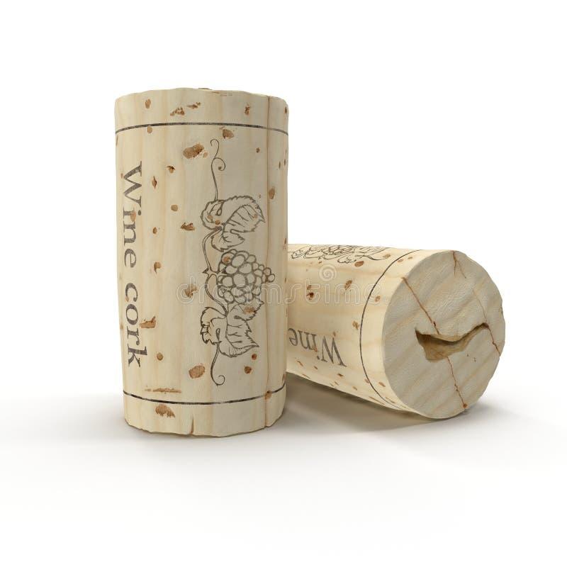 Benutzter Wein-Korken auf Weiß Abbildung 3D stock abbildung