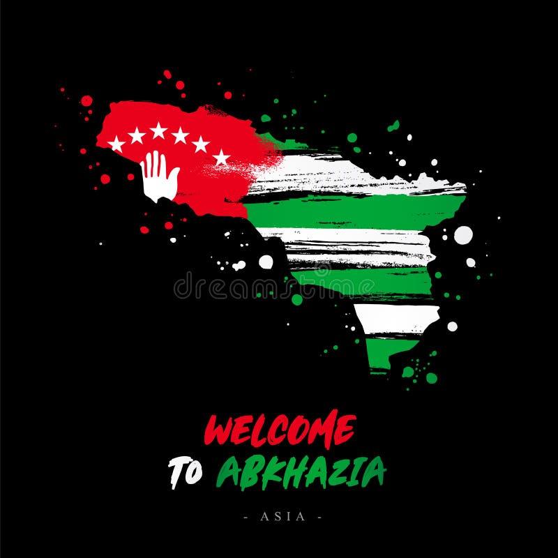 Benvenuto in Abkhazia Bandiera e mappa del paese illustrazione di stock