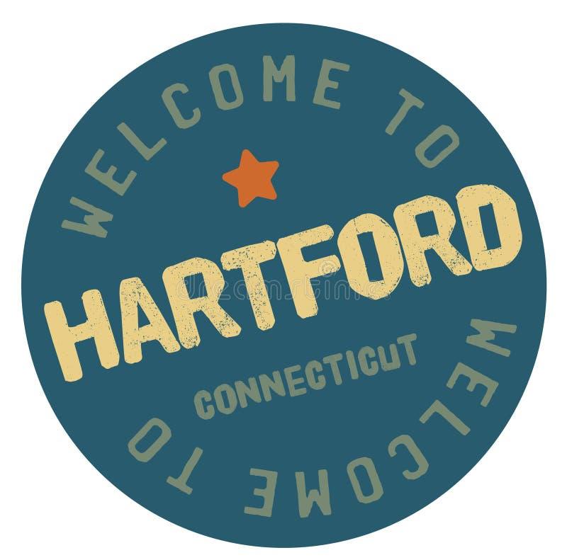Benvenuto ad Hartford Connecticut illustrazione vettoriale