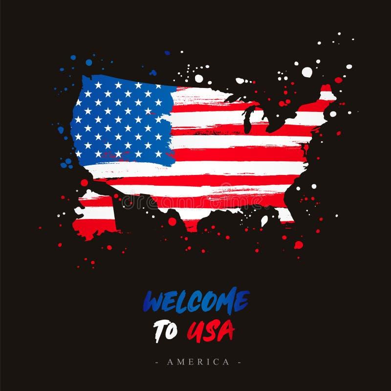 Benvenuto ad U.S.A. Bandiera e mappa del paese royalty illustrazione gratis