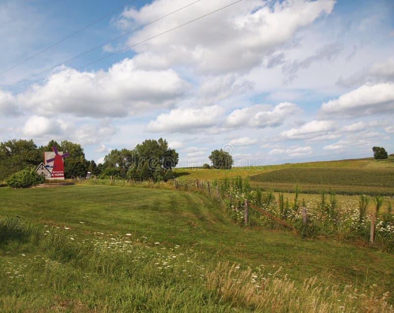Benvenuto agli alci Horn Iowa immagini stock