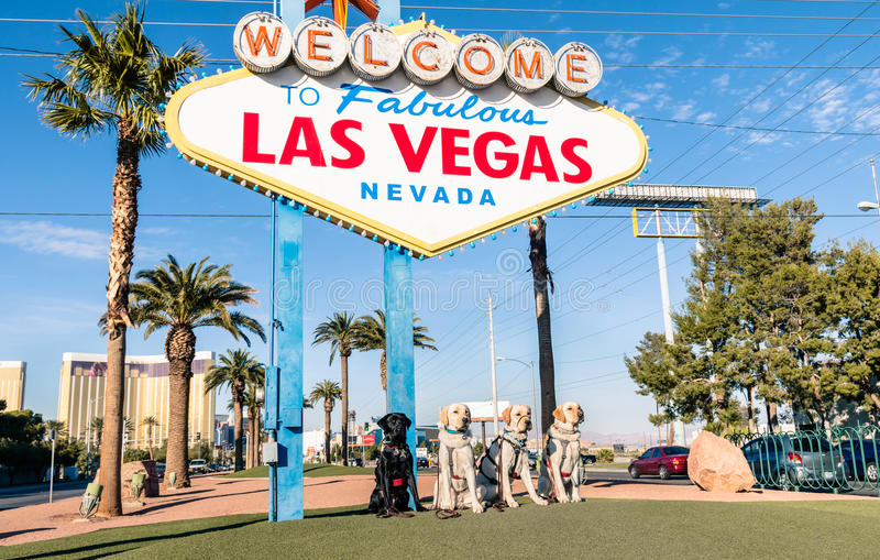 Benvenuto ai cani favolosi della razza e di Las Vegas fotografie stock