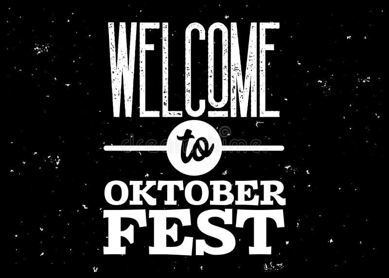 Benvenuto al distintivo di Oktoberfest Emblema in bianco e nero di vettore illustrazione di stock