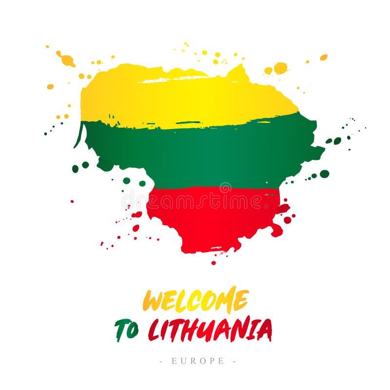 Benvenuto al ithuania Bandiera e mappa del paese illustrazione di stock
