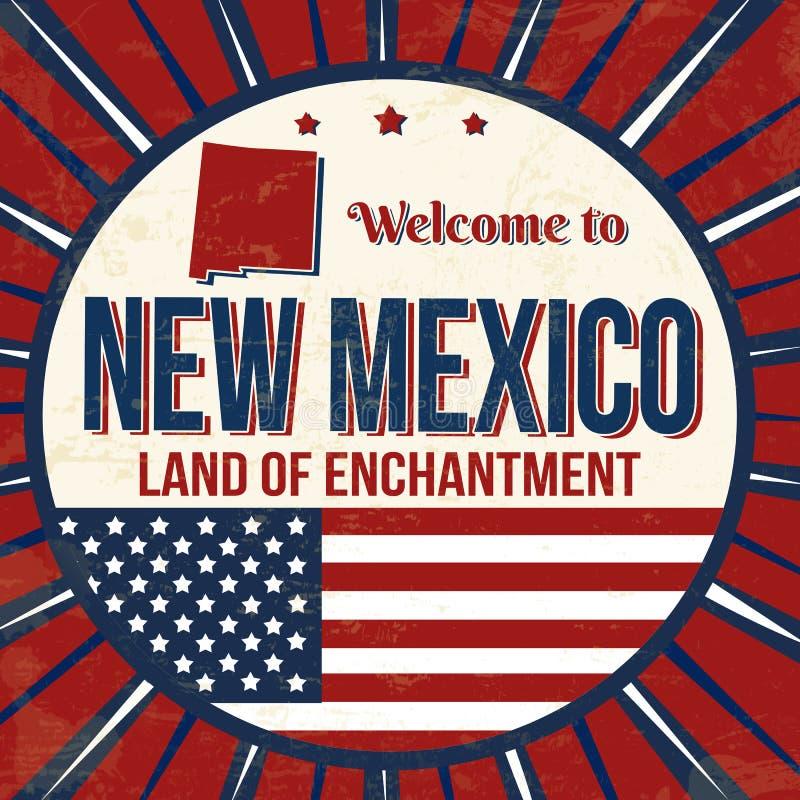 Benvenuto al manifesto d'annata di lerciume del New Mexico royalty illustrazione gratis