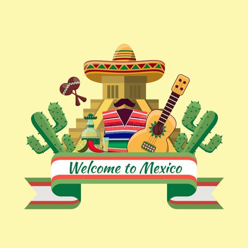 Benvenuto al manifesto del Messico illustrazione di stock