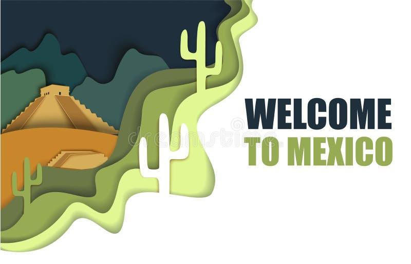 Benvenuto al manifesto del Messico, illustrazione del taglio della carta di vettore royalty illustrazione gratis