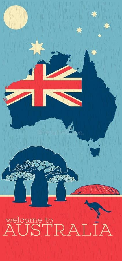 Benvenuto al manifesto dell'annata dell'Australia illustrazione vettoriale