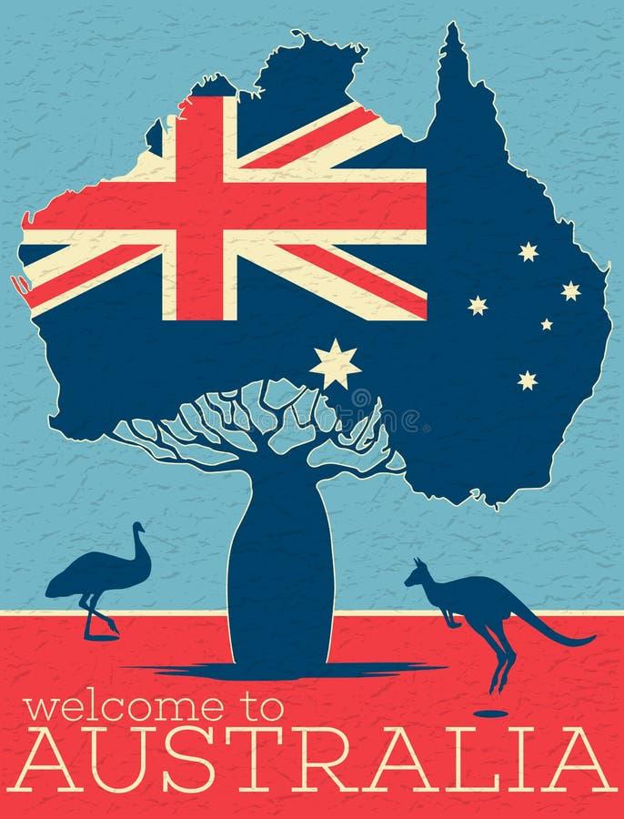 Benvenuto al manifesto dell'annata dell'Australia royalty illustrazione gratis