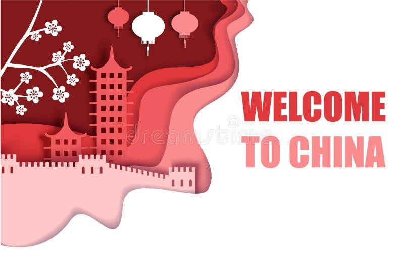 Benvenuto al manifesto della Cina, illustrazione del taglio della carta di vettore illustrazione vettoriale