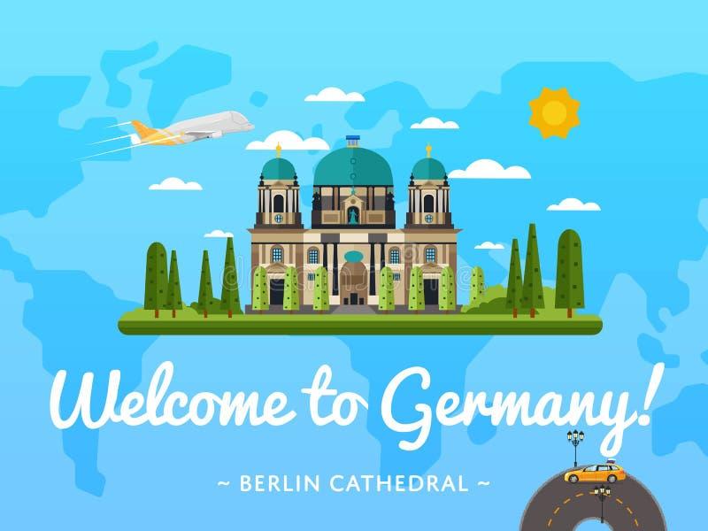 Benvenuto al manifesto della Germania con l'attrazione famosa royalty illustrazione gratis
