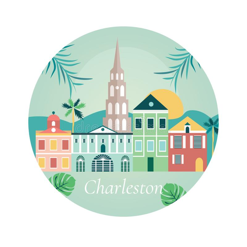 Benvenuto al manifesto di Charlestone con i punti di riferimento illustrazione di stock