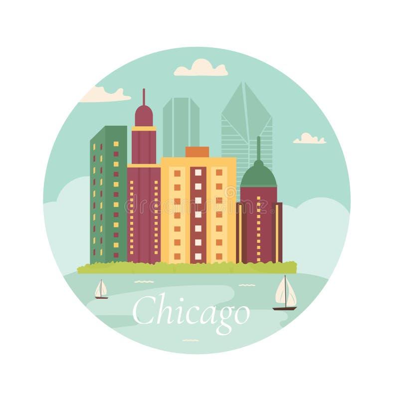 Benvenuto al manifesto di Chicago Vista sul lago Grattacielo illustrazione di stock