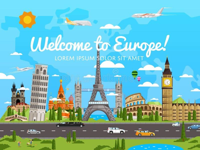 Benvenuto al manifesto di Europa con le attrazioni famose illustrazione vettoriale