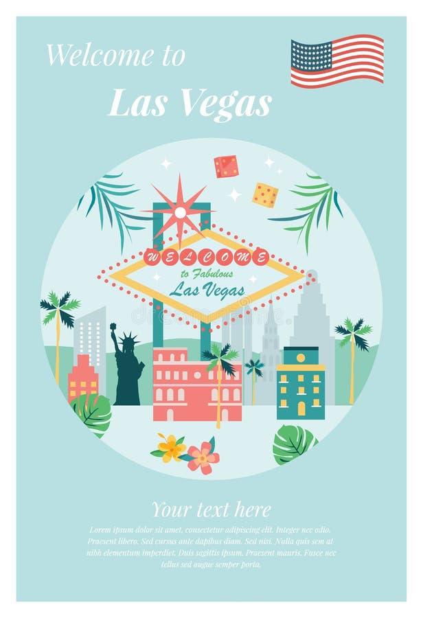Benvenuto al manifesto di Las Vegas con i punti di riferimento illustrazione di stock