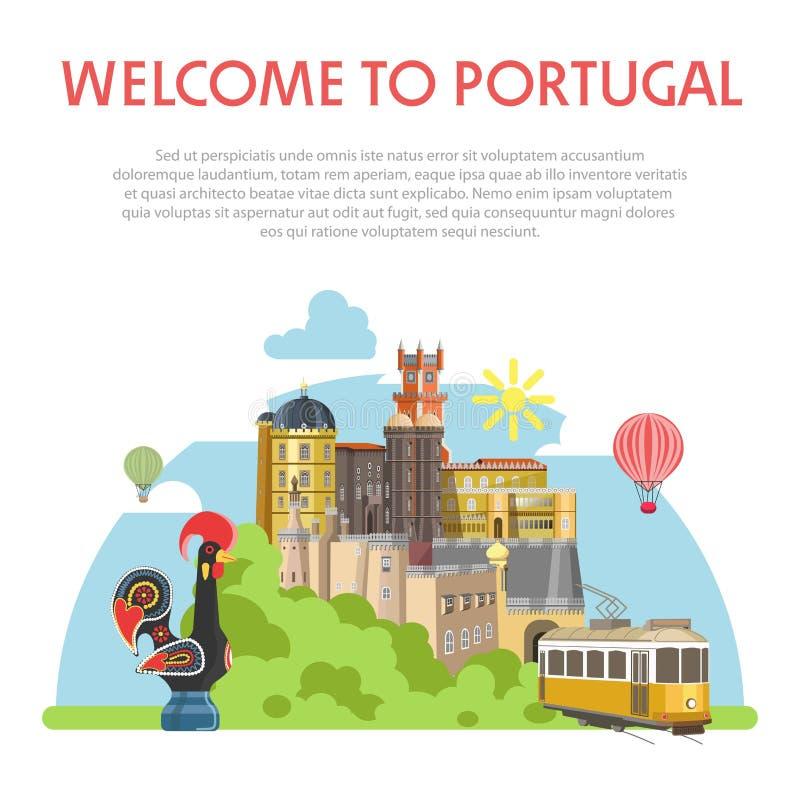 Benvenuto al manifesto informativo del Portogallo con architettura antica illustrazione vettoriale