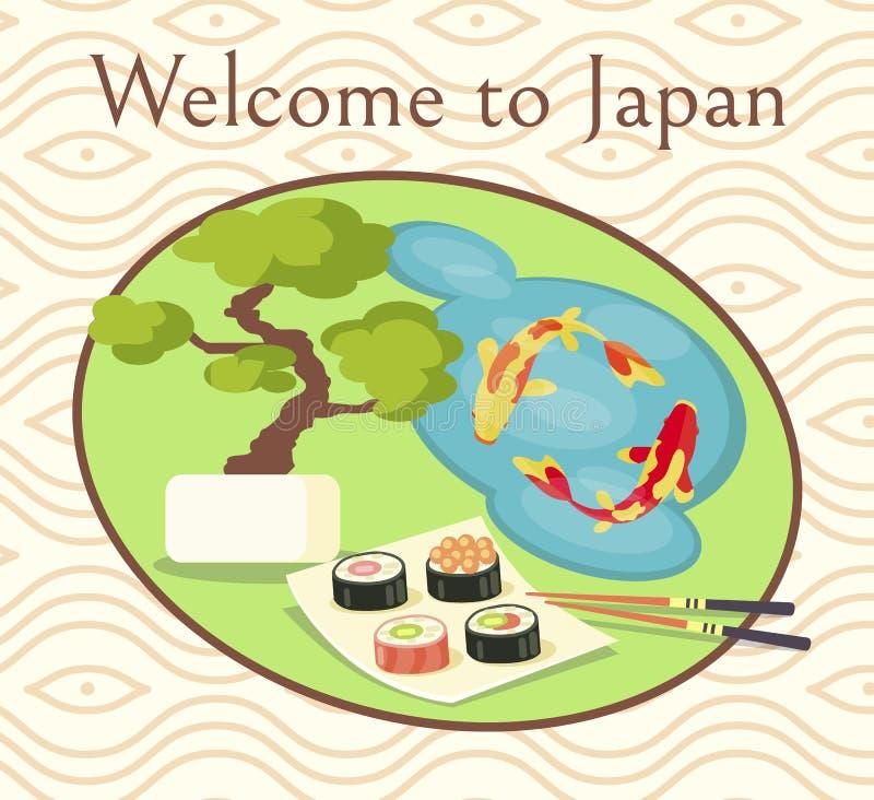 Benvenuto al manifesto promozionale del Giappone con i sushi illustrazione vettoriale