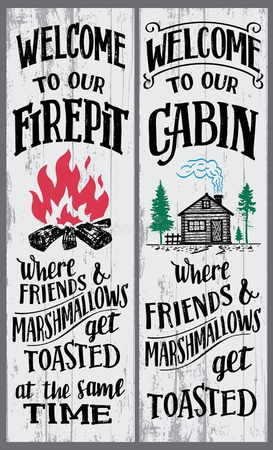 Benvenuto al nostro segno di cabina e del firepit illustrazione di stock