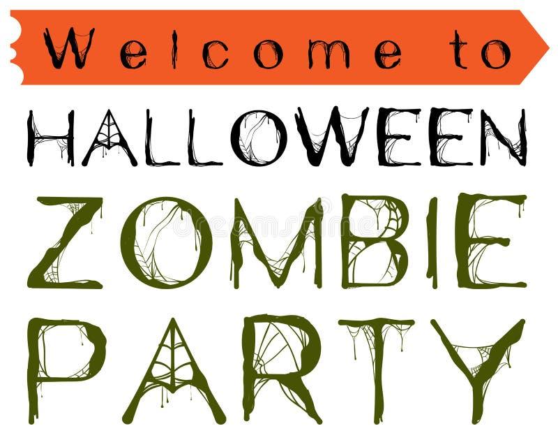 Benvenuto al partito dello zombie di Halloween Ragnatela dell'invito del testo illustrazione di stock