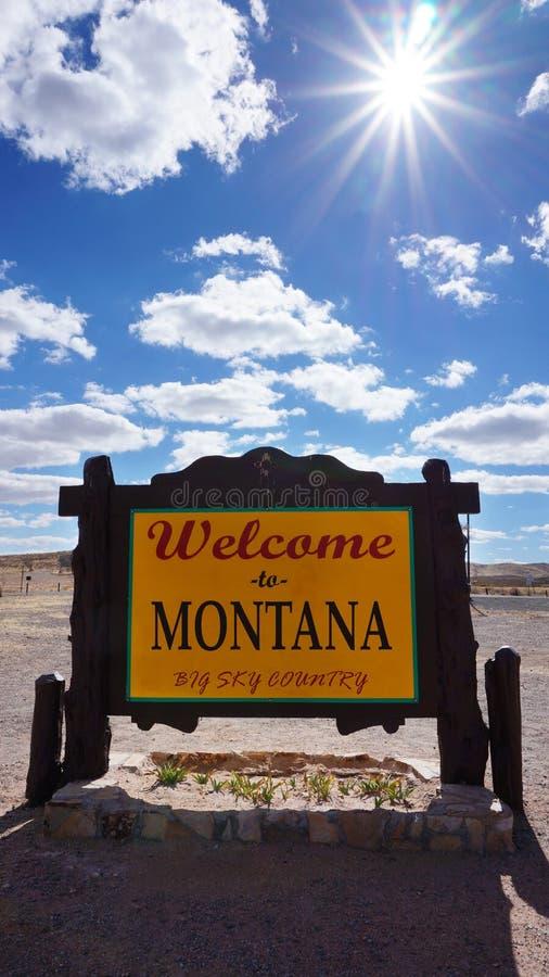 Benvenuto al segnale stradale del Montana fotografia stock