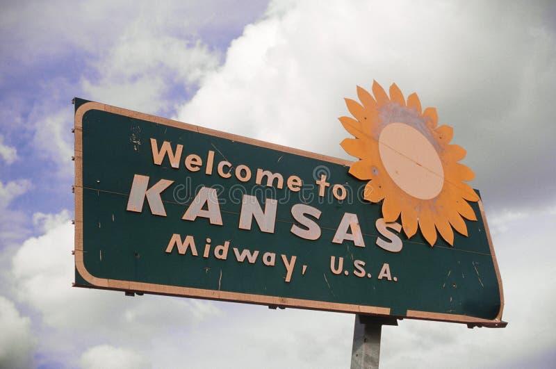 Benvenuto al segno del Kansas fotografia stock libera da diritti