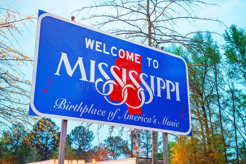 Benvenuto al segno del Mississippi fotografie stock
