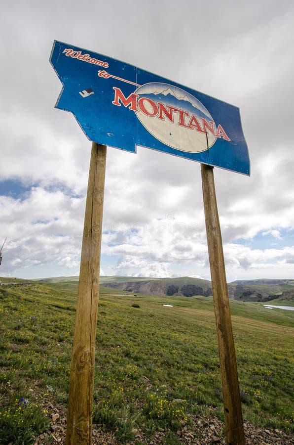 Benvenuto al segno del Montana fotografia stock