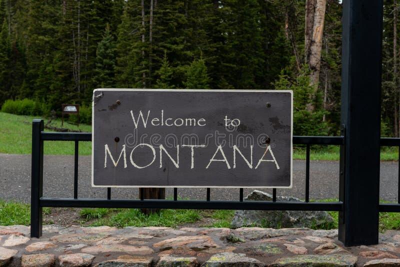 Benvenuto al segno del Montana fotografie stock