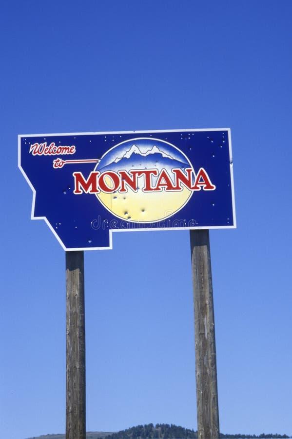 Benvenuto al segno del Montana fotografia stock libera da diritti