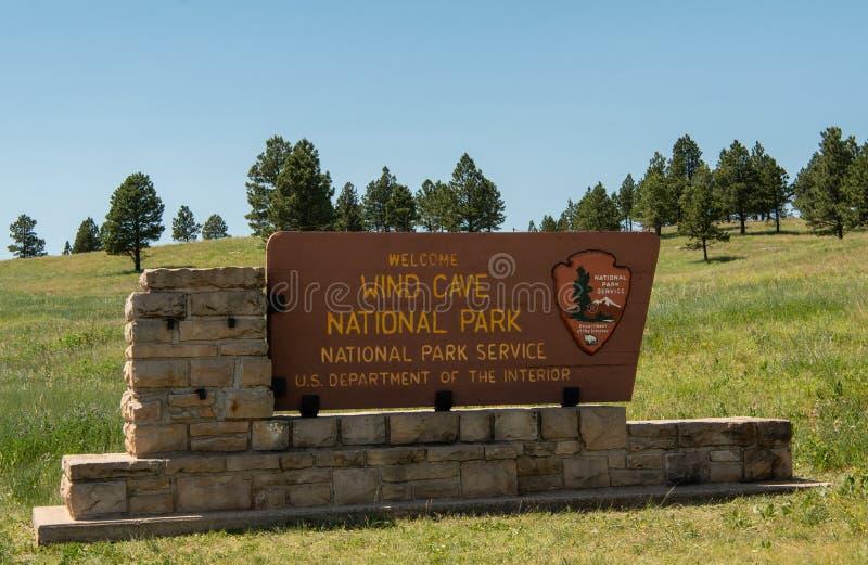 Benvenuto al segno del parco nazionale della caverna del vento fotografie stock libere da diritti