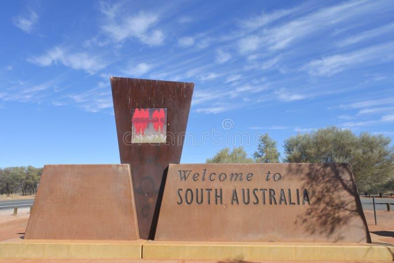Benvenuto al segno dell'Australia Meridionale immagini stock