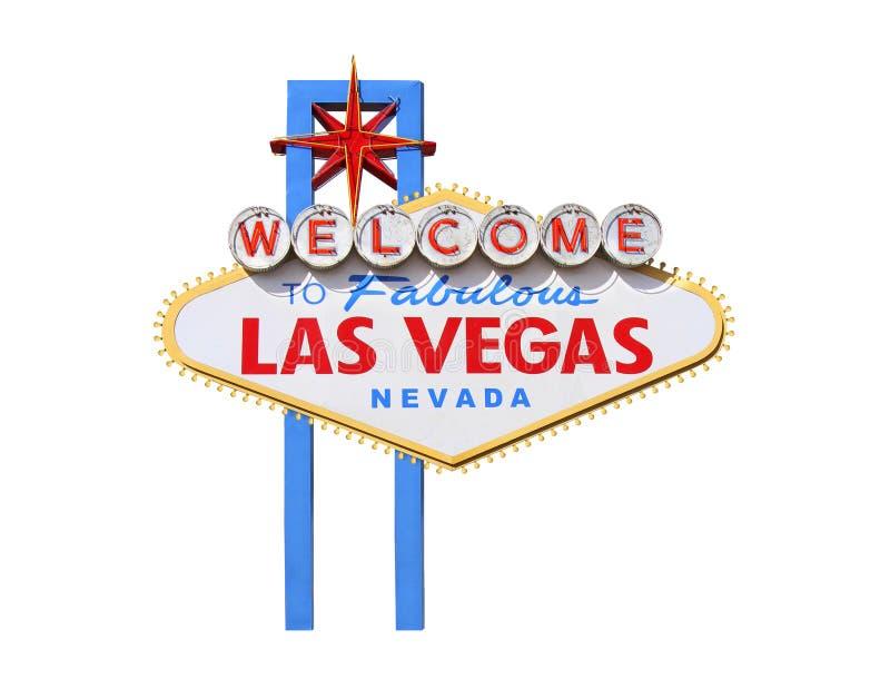 Benvenuto al segno di Las Vegas su fondo bianco fotografie stock