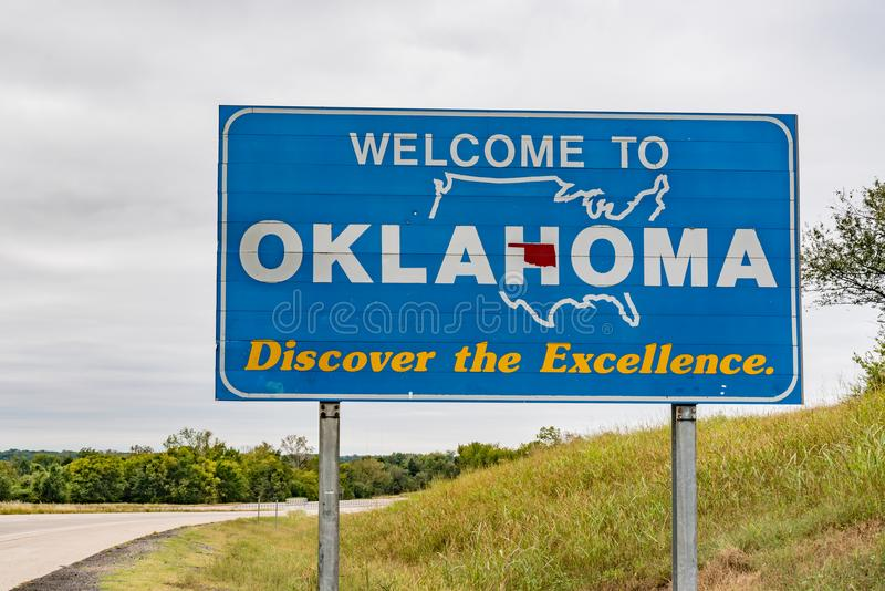 Benvenuto al segno di Oklahoma fotografie stock