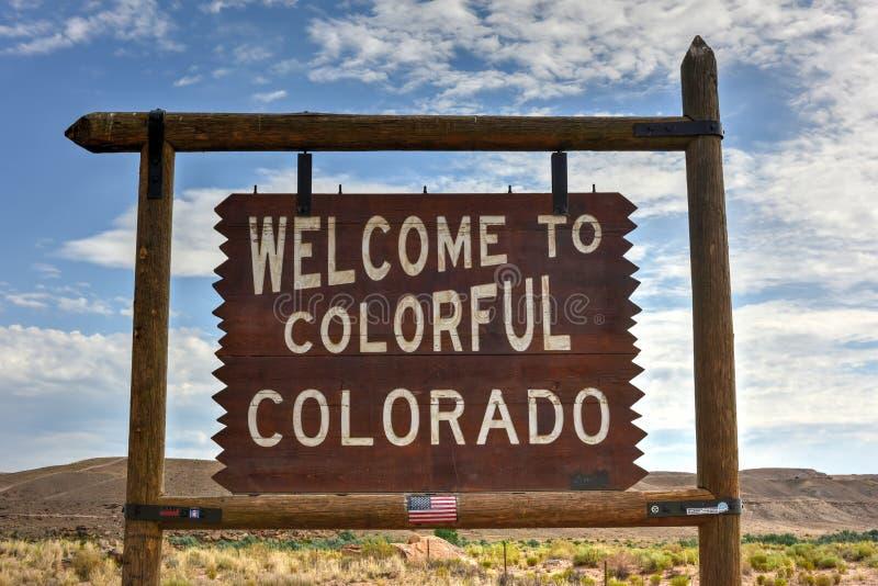 Benvenuto al segno variopinto di Colorado fotografie stock