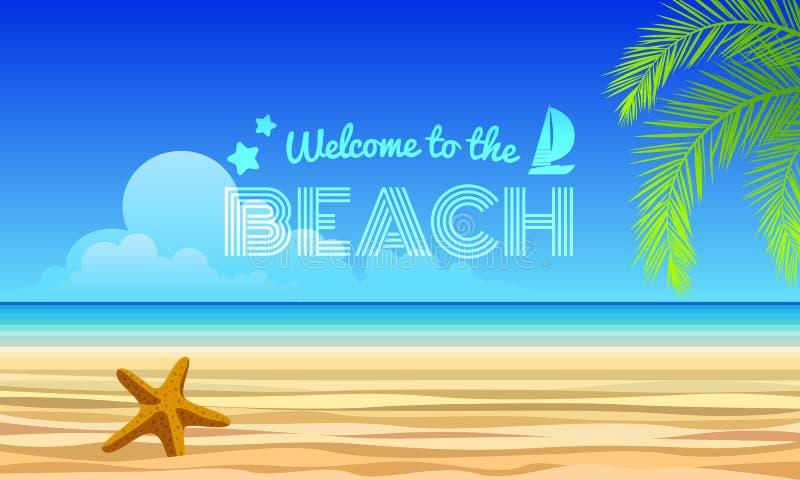Benvenuto al testo della spiaggia - la stella marina sulla sabbia e sul mare, noce di cocco lascia la progettazione astratta di v royalty illustrazione gratis