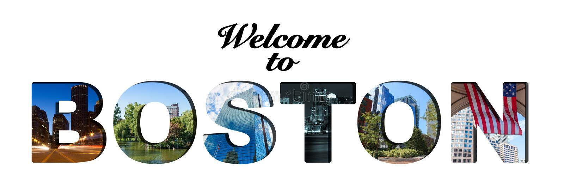 Benvenuto al testo di Boston ed al collage della foto fotografie stock