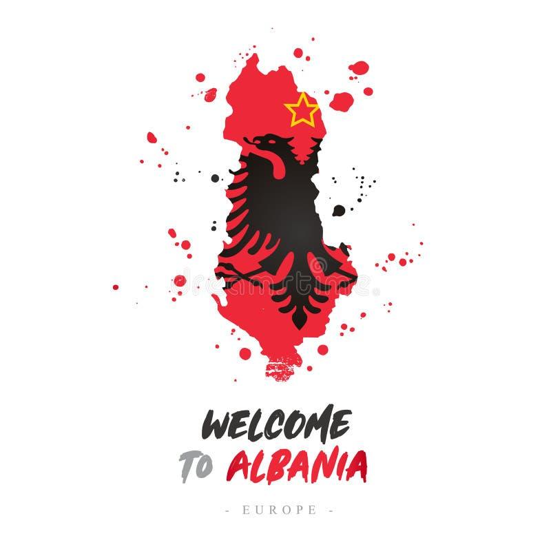 Benvenuto in Albania Bandiera e mappa del paese illustrazione di stock